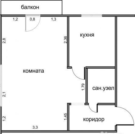 План угловой однокомнатной квартиры в хрущевке